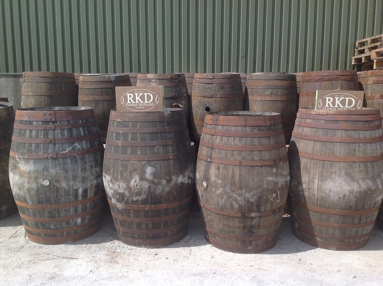 Whiskey barrel raw in yard