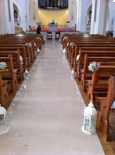 Church decor with lanterns